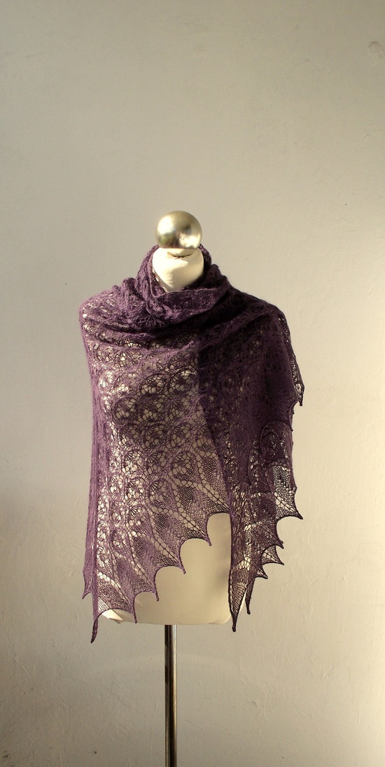 Purple Plum hand knitted lace shawl.  via Etsy.