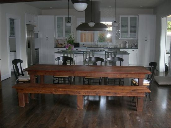 I love the long table with the open kitchen