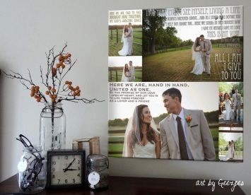 canvas collage wedding photos and quotes words
