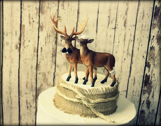 Deer wedding cake topper-Hunting wedding cake topper-Deer bride and groom-Hunting-Buck-Wedding Cake Topper. $48.00, via Etsy.
