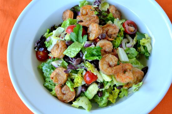 Fried Five-Spice Shrimp Salad with Black Beans and Avocados