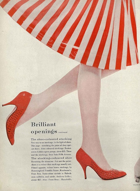 Every gal needs a cheerful, zesty pair of red heels in her wardrobe. #vintage #fashion #1950s #shoes