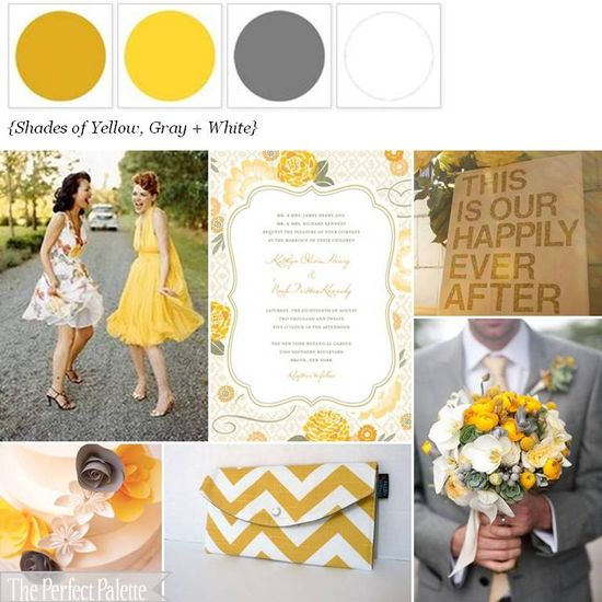 {Sunshine Soiree}: Shades of Yellow, Gray + White www.theperfectpal...