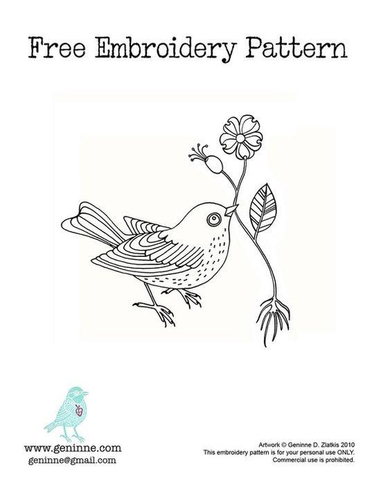 Pretty bird embroidery pattern