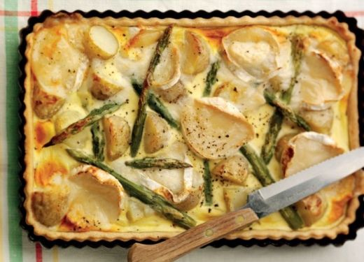 Jersey Royals, Goat's Cheese and Asparagus Flan Recipe : Cook Vegetarian Magazine