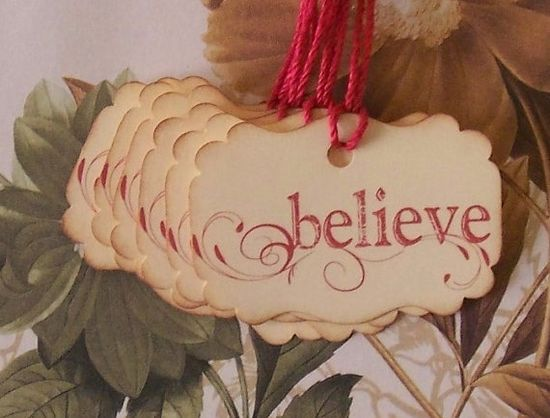 Christmas Tags Vintage Style Handmade Believe Set of 6
