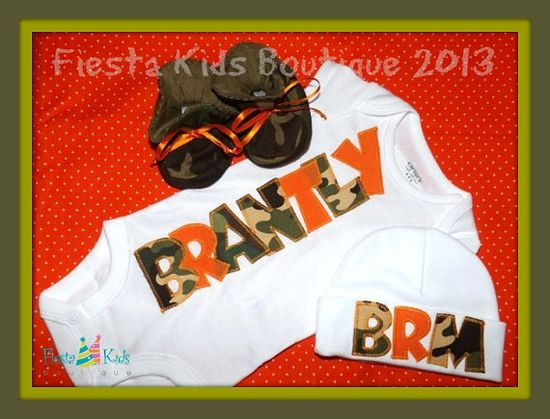 CAMO and ORANGE baby boy 3pc outfit - baby booties, onesie and beanie cap by FiestaKidsBoutique