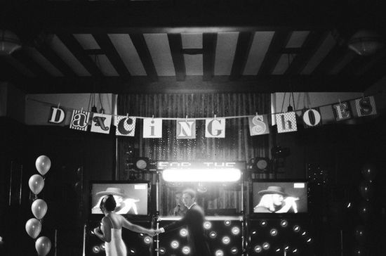 Dancing shoes banner for dance floor decor. Photo: Polly Alexandre