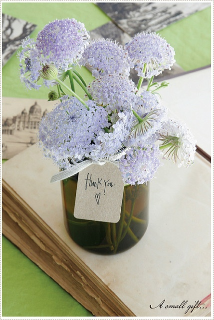 A thank you gift - flowers in a mason jar