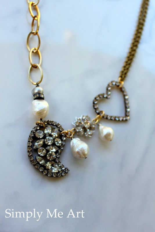 Vintage Rhinestone and Baroque Pearl One of a Kind Assemblage Necklace... Gilded and Sparkle Eight