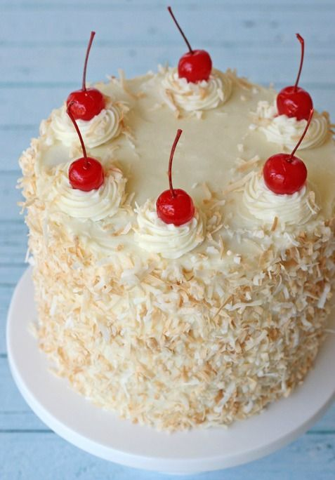 Pina Colada Cake recipe!!! OMG I have to have a belated birthday party for my mom:)