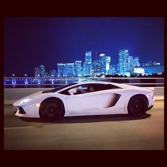 Lamborghini Aventador hitting the Miami streets at night