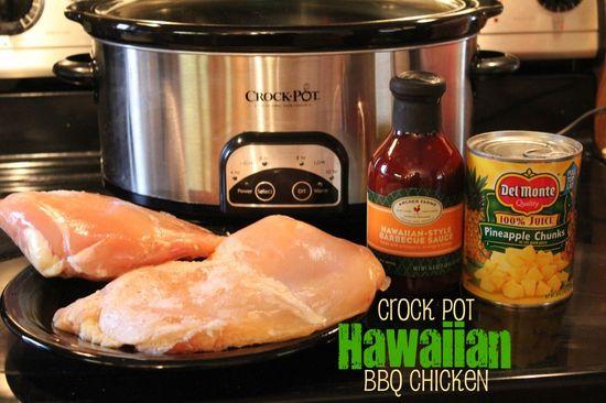 Crock Pot Hawaiian BBQ Chicken - Just three ingredients