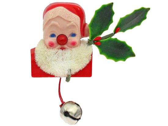 Vintage Christmas Pin Light Up Nose Santa by CarnabyVintageJewels on Etsy, $39.00