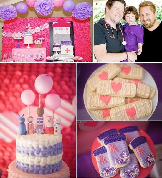 """CUTE Doc McStuffins Birthday party with tons of ideas! Styled by Jenny Cookies and """"The Guncles"""" with products from www.KarasPartyIde... - THE place for ALL things party! #docmcstuffins #partyideas #partysupplies"""