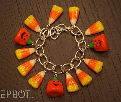 DIY- Candy Corn Bracelet ~made with real candy corn covered in resin/sealer. Make one with the candy out for each holiday!