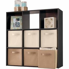 Cube shelving system with fabric storage cubes