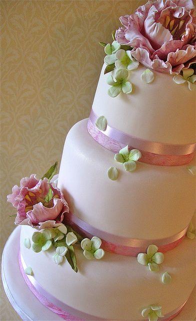 Pink Peonies & Hydrangea wedding cake by nice icing, via Flickr