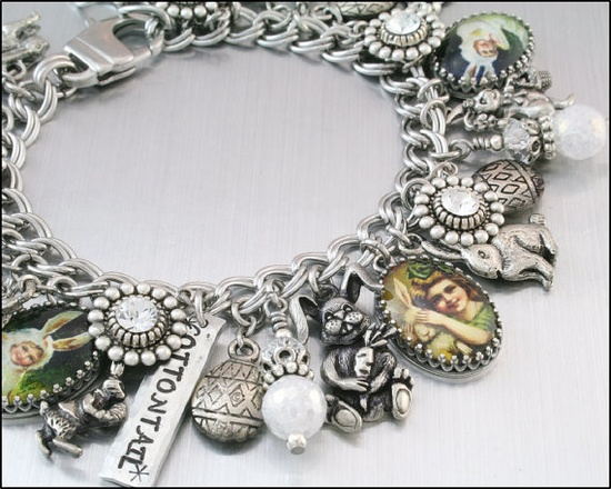 Mr Cottontail Rabbit Charm Bracelet Silver by BlackberryDesigns, $123.00