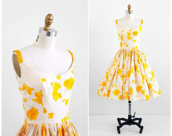 1950's White and Yellow Roses Watercolor Silk Party Dress