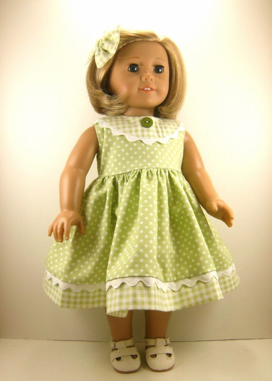 Made For American Girl Doll - Other 18 Inch Dolls - Green and White Dots and Checks Sleeveless  Dress and Matching Hair Bow. $22.00, via Etsy.