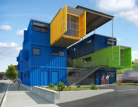 Box Office, the aptly named office building made of stacked blue, green and yellow shipping containers.