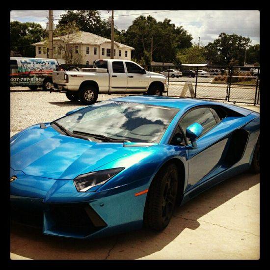 Metallic Blue Lamborghini Aventador