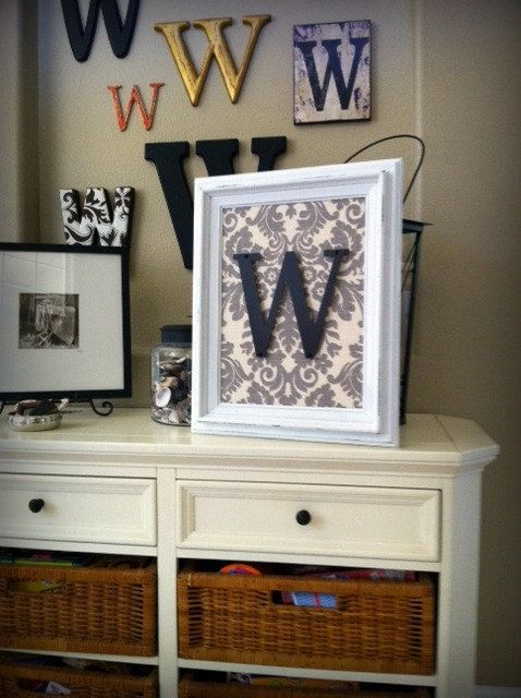letters with scrapbook paper background.