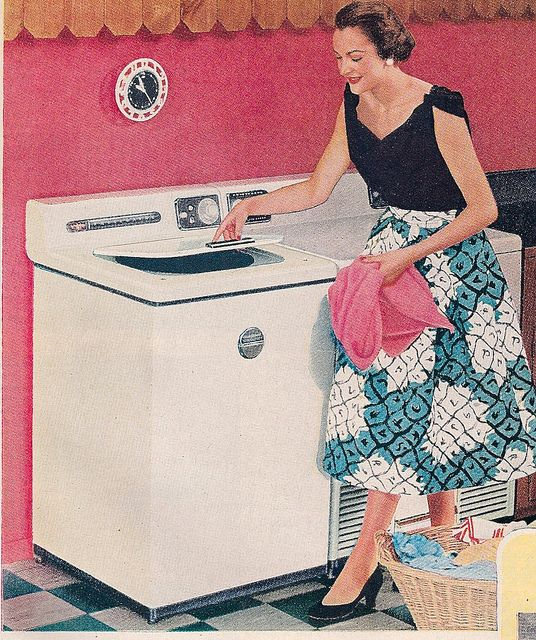 What a whimsically fun pattern on this happy homemaker's skirt - almost looks like the outside of a pineapple. #vintage #1950s #fifties #ads #illustrations