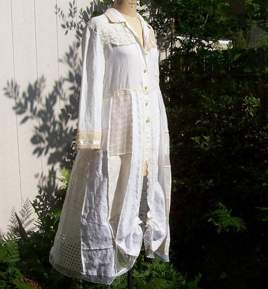 and WOW again!    Shabby Chic Linen Antique Lace Top/Coat Recycled by RevampReuse, $310.00