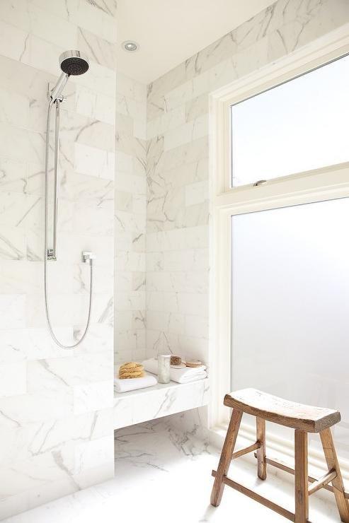 Suzie: John Maniscalco Architecture - Stunning marble shower with marble tiles shower surround, ...