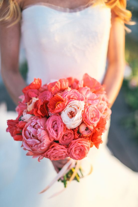 coral and pink floral #bouquet