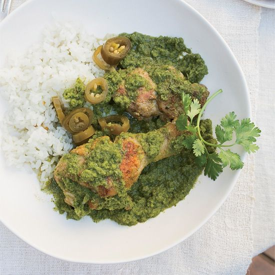 Braised Chicken with Cilantro, Mint and Chiles // More Great Braising Recipes: www.foodandwine.c... #foodandwine