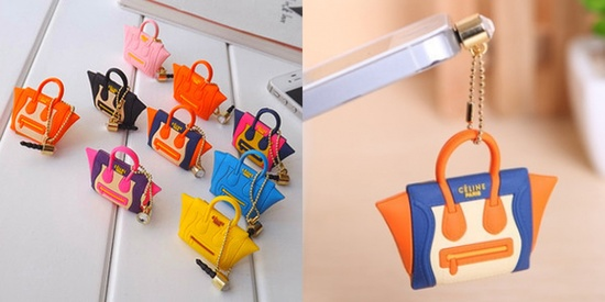 Celine designer trademark infringing purses for phone plugs.