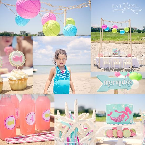 Beach Party . Kids Birthday . Fish . Mermaids . Pink Green Aqua