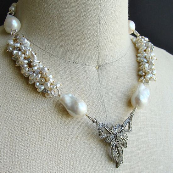 Rhodium Silver Diamond Bow Raw Diamonds by karensugarmandesigns, $1825.00