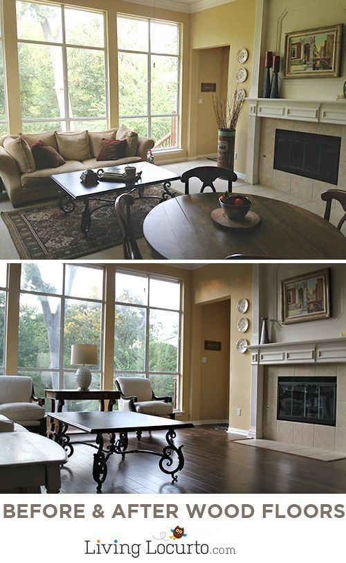 Family Room Decorating Ideas - Before & After Wood Flooring Photos. DIY Home Decor