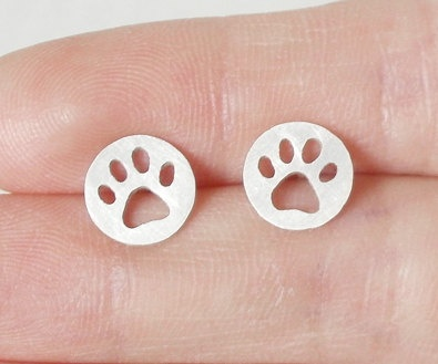 dog paw print earring studs version 3 in sterling silver, handmade in beautiful Cornwal