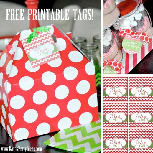 FREE printable THANK YOU & MERRY CHRISTMAS TAGS via www.KarasPartyIde...!