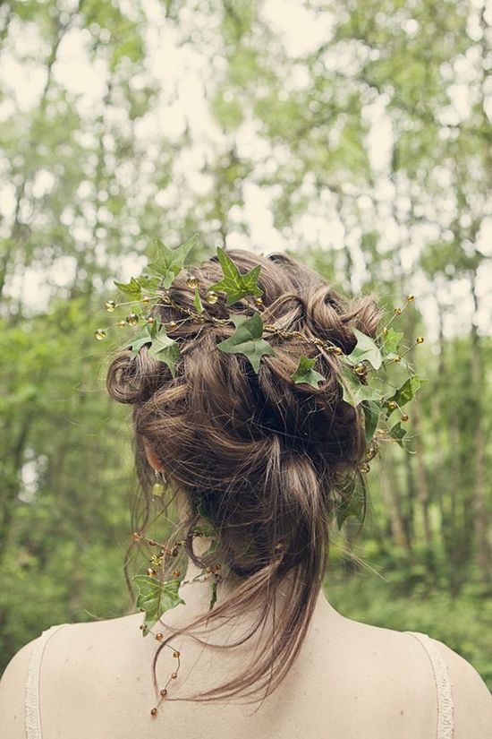 climbing ivy. hair, flowers in hair,