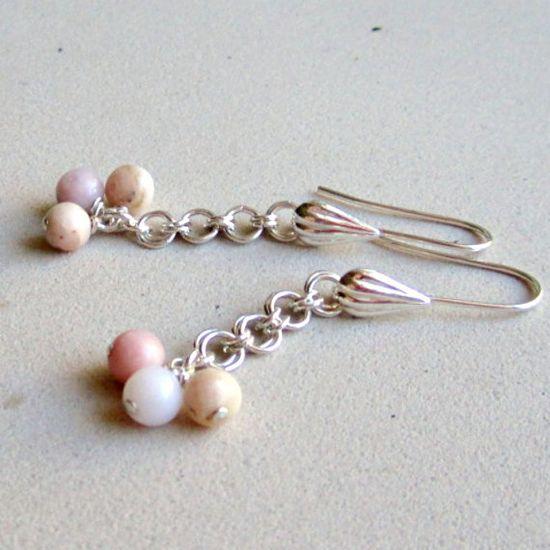 Peruvian Pink Earrings Sterling Silver Jewelry by jewelrybycarmal, $24.00
