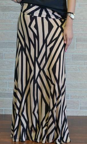 Neutral Graphic Maxi Skirt
