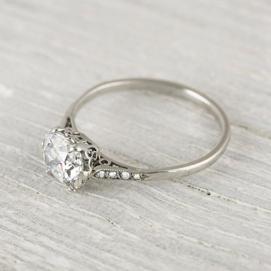 Beautiful Vintage 1 Carat Cushion Cut Engagement Ring