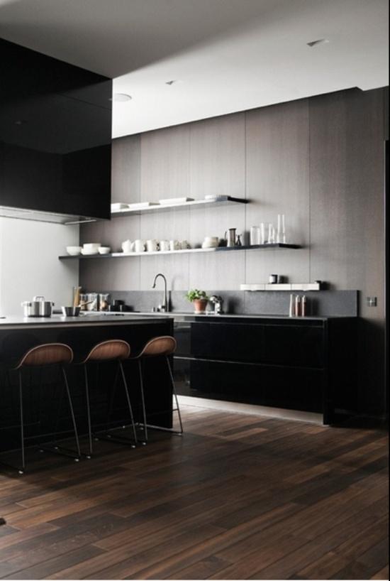 Black modern kitchen # breakfast bar