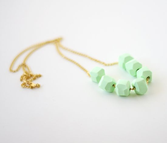 mint geo beaded necklace by AMM jewelry