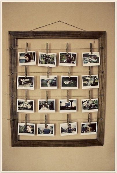 photo frame with clothes pins---great for a kids room!
