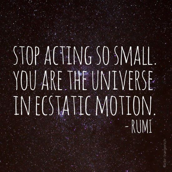 ...you are the Universe in ecstatic motion.  ?Rumi?