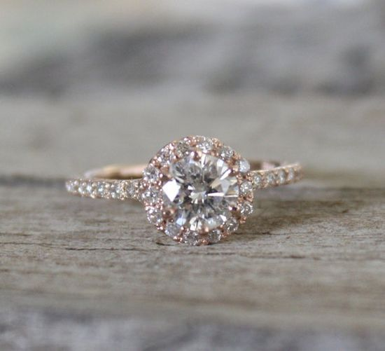 1.30 Ctw Diamond Engagement Ring in 14K Rose Gold by Studio1040, $3200.00
