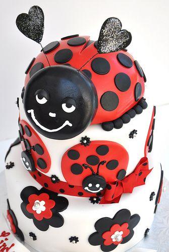 Cute smiling ladybug cake