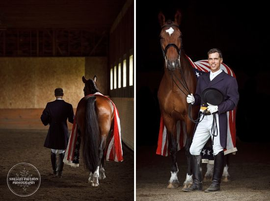 Working to represent the USA in the 2012 Olympics. Rhett proudly wears the Flag Jim Koford and Rhett – A US Dressage Dream Team